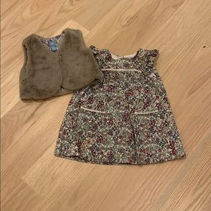 Baby Gap 18-24M dress with matching fur vest.